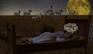 Counting sheep while trying to sleep